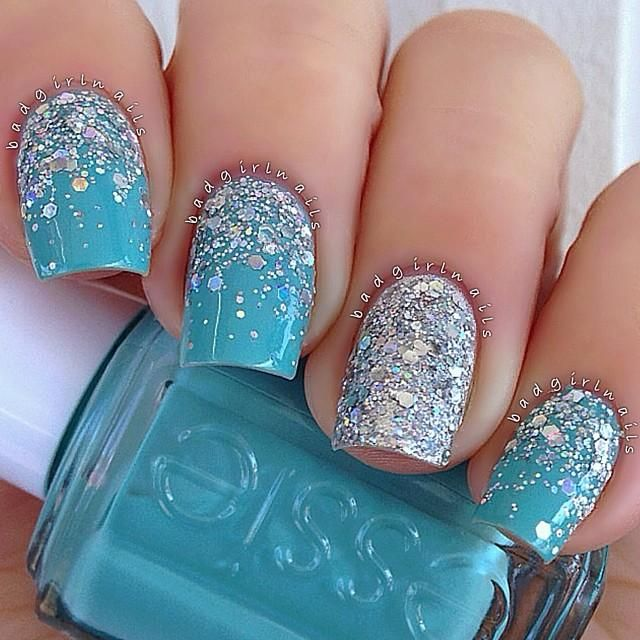 Silver For Prom Nail Ideas: Teal Blue W/ Silver Glitter Accent Nails