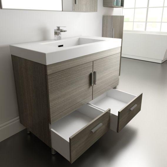 Alya Bath Ripley 36 Inch Freestanding Modern Bathroom Vanity Gray