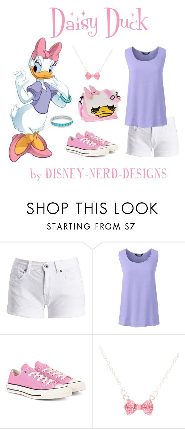 """Daisy Duck"" by disney-nerd-designs ❤ liked on Polyvore featuring Barbour International, Lands' End, Converse, claire's, Ippolita, Disney, Daisy, disney, disneybound and DaisyDuck"