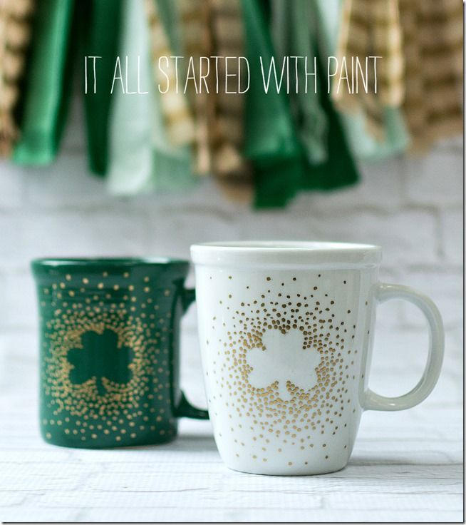 DIY St. Patrick's Day Irish Coffee Mugs