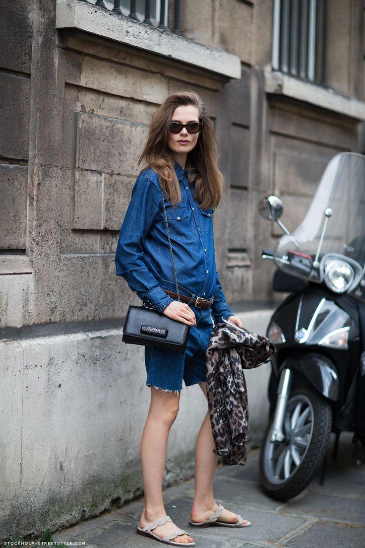 Carolines Mode | StockholmStreetStyle: Denim On Denim, Long Shorts, Caroline Brasch, Bermuda Shorts, Brasch Nielsen, Street Style, Denim Shirts, Spring Fashion, Fashion Trends