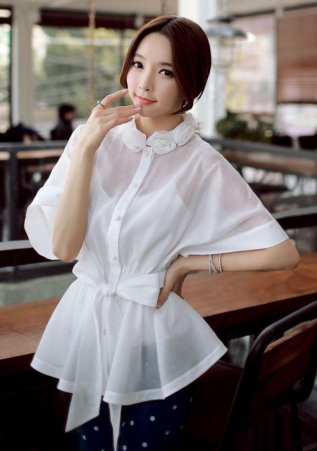 Morpheus Boutique  - White Gauze Bow Kimono Sleeve Flare Hem Shirt, $89.99 (http://www.morpheusboutique.com/new-arrivals/white-gauze-bow-kimono-sleeve-flare-hem-shirt/)