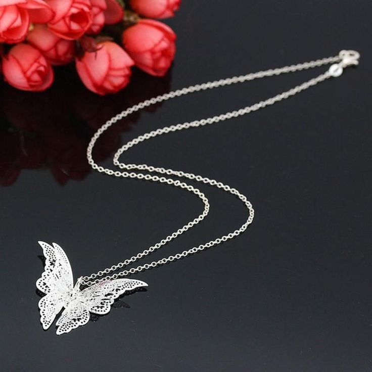 Lovely Butterfly Pendant Chain Necklace //Price: $10.99 & FREE Shipping //     #ootd #work #sweet #sun #morning