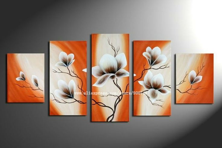 free shipping 100% Hand painted Waving orange branches white flowers landscape Wall home Decor Oil Painting on canvas 5pcs set