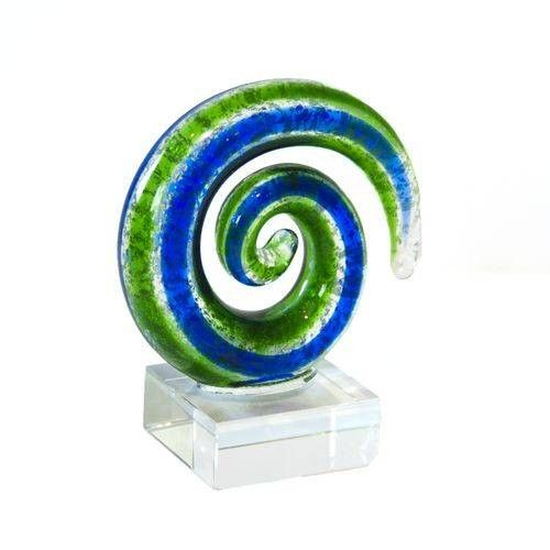 Handcrafted Mini Glass Koru Circle in Silver Blue and Green