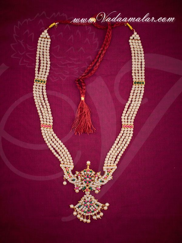 Long Pearl Necklace kathak jewellery set online