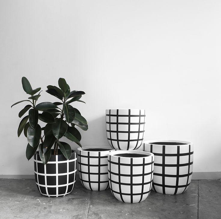 The Minimalist x Design Twins collaboration 'Grid' hand painted garden pots