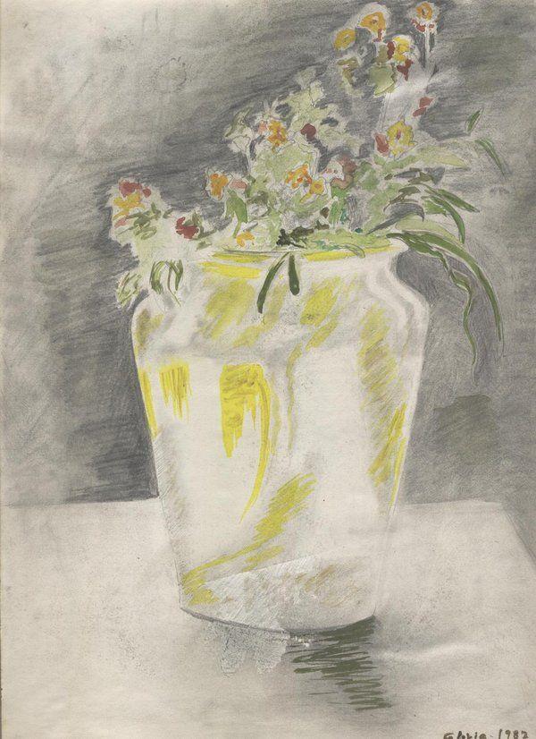 El jarrón amarillo; lapicero y acuarela