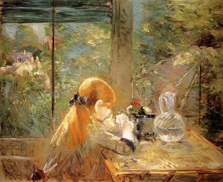 Berthe Morisot - Fille aux cheveux rouge assise à véranda