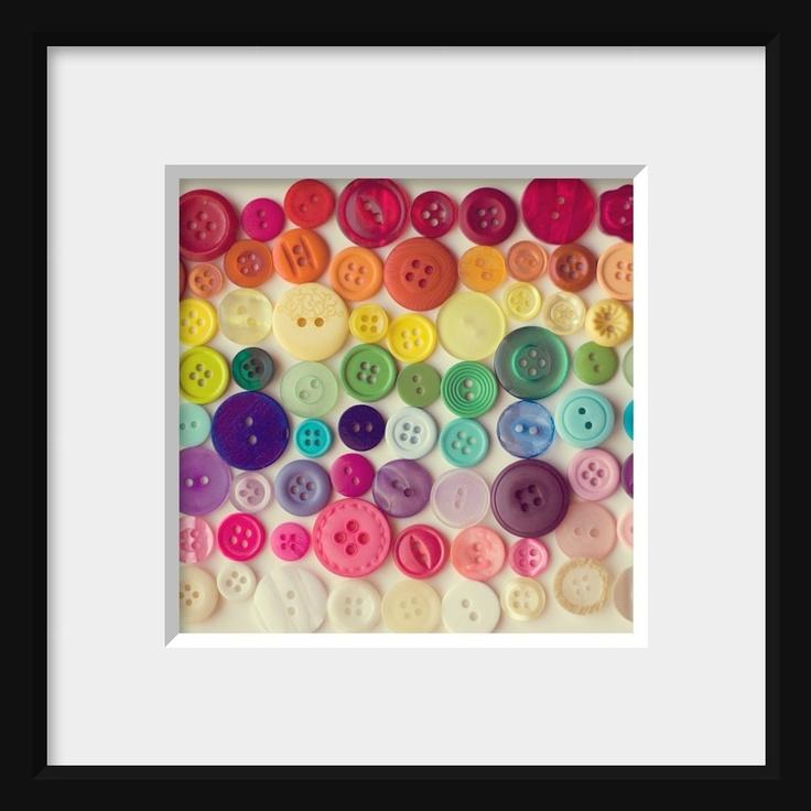 8 x 8 photograph, buttons, rainbow, colorful, home decor, nursery childrens wall art. $25.00, via Etsy.
