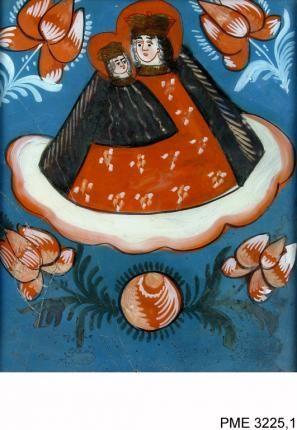 nieznane, Obraz na szkle Matka Boska z Dzieciątkiem | Zbiory on-line Państwowego Muzeum Etnograficznego w Warszawie