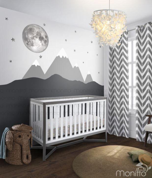 Full Moon Stars With Grey Mountain Scenery Nursery Wall Etsy Baby Room Mural Ideas Nursery Baby Room Baby Room Decor
