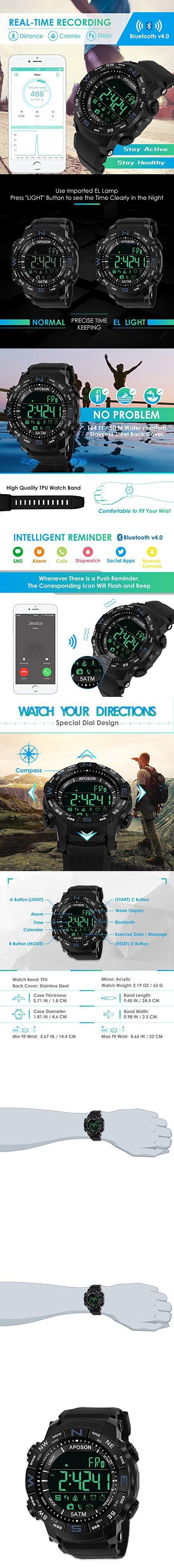 Men Sports Smart Bluetooth Watch, Pedometer Calories Waterproof LED Digital Watch Fitness Running Bracelet Chronograph 50M Waterproof Wristwatches Fashion Chronograph Watches