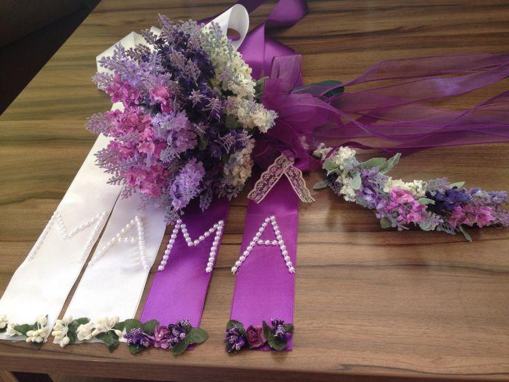 Gelin çiçeği takı kurdelası mor lavanta buketi düğün