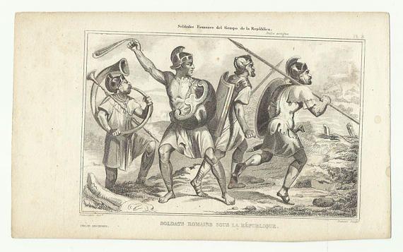 Costumi italiani  soldati romani  stampa antica  '800
