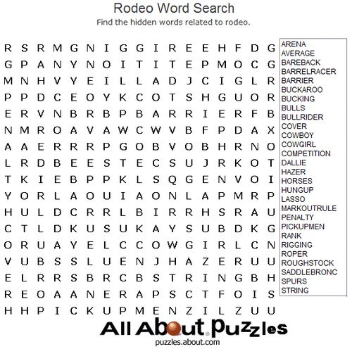 Rodeo Printable Word Search Puzzle Word Search And