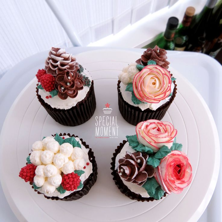 17 best images about flower cupcake on pinterest surprise birthday parties cupcakes for - Creme decoration cupcake ...