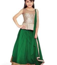 Buy Dark Green Soft Net kids-lehenga-choli kids-lehenga-choli online