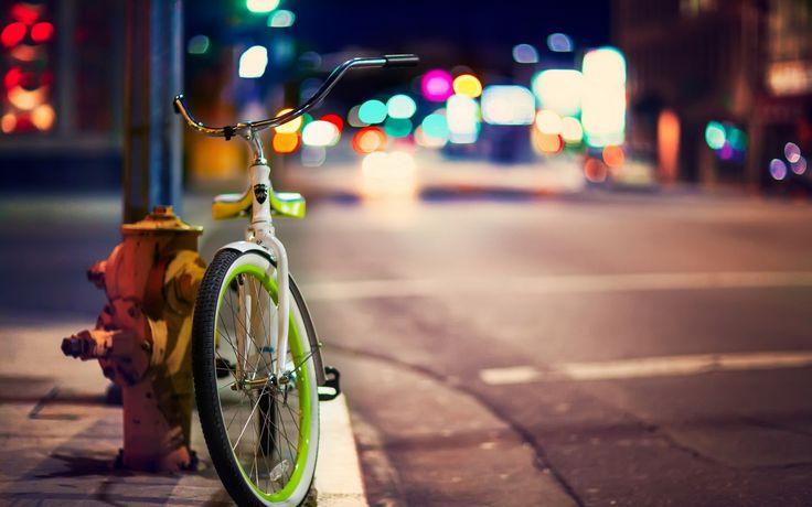 Города Улица Велосипед Ночь