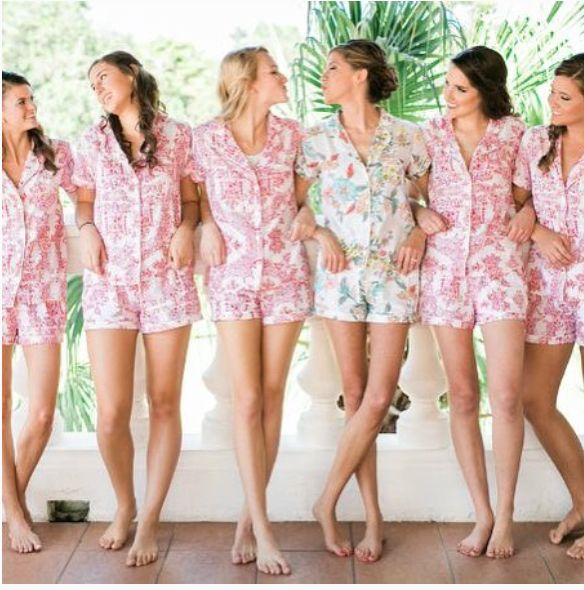 Happy Sunday! We love these cute printed pjs for the morning after your big day! #Sunday #weekend #brunch #weddinginsp #bridalparty