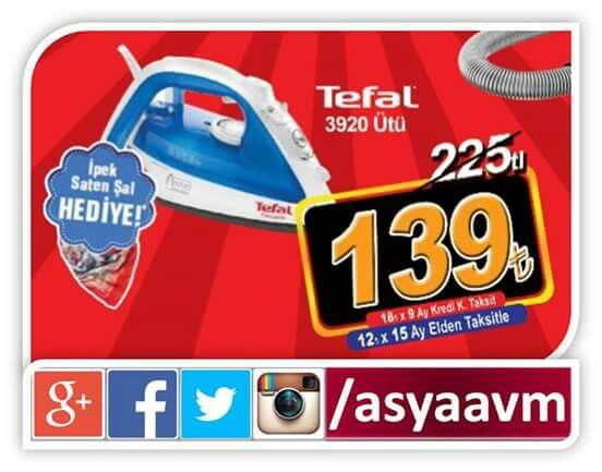 Stoklarla sınırlı Tefal İpek şal hediyeli ütü 139.00TL! #asyaavm #kampanya #songün31Mayıs