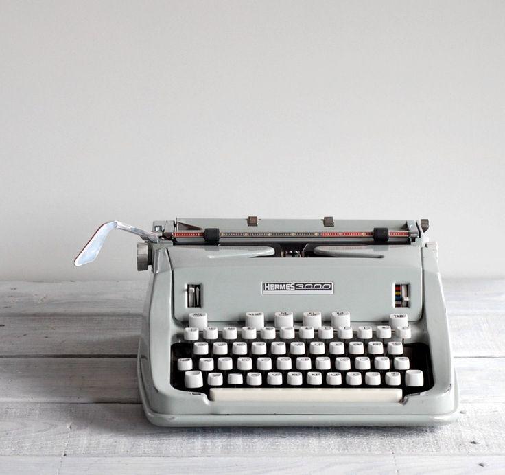 Retro-chic. 1960s Hermes 3000 Typewriter  Seafoam Green  Mid Century Manual Typewriter