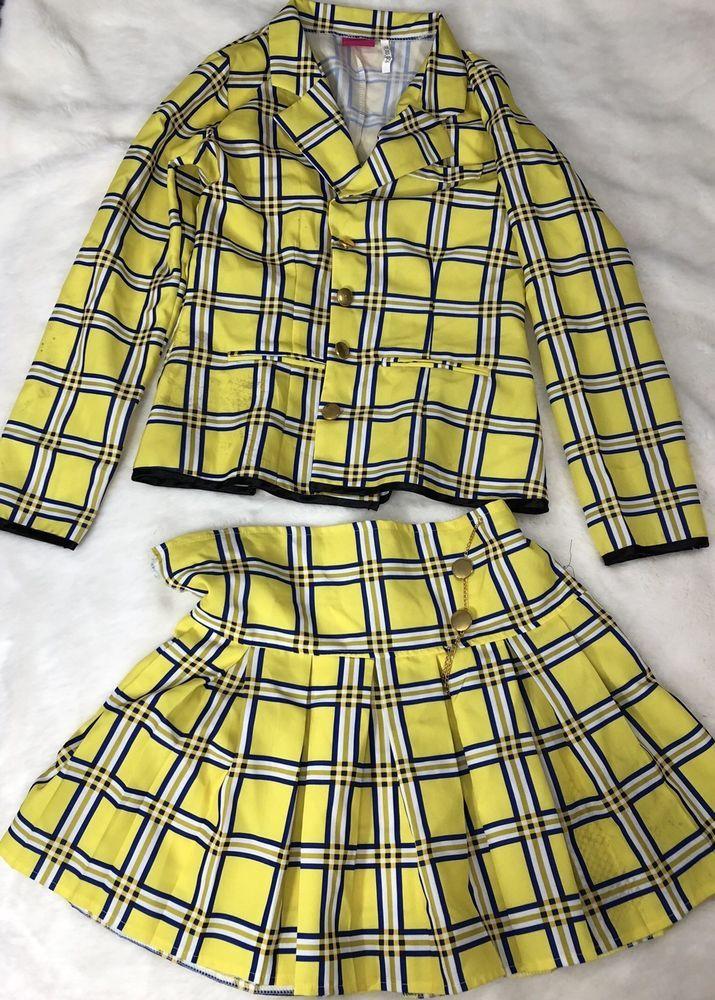 ae9ca605db FLAWS TORN Cher Horowitz CLUELESS Yellow Plaid Halloween Costume Skirt  Jacket MD | eBay
