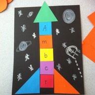 Name rocket - shapes, practicing name + art!
