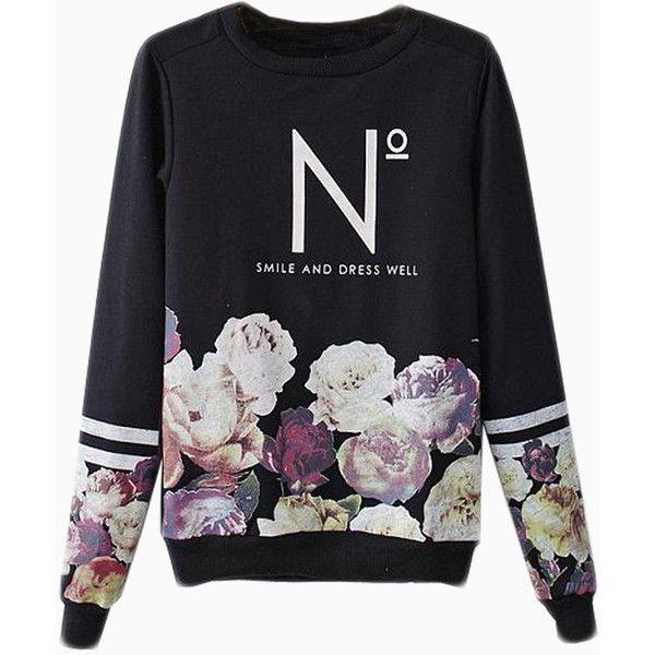 Choies Black Floral Sweatshirt With N Pattern ($34) ❤ liked on Polyvore featuring tops, hoodies, sweatshirts, sweaters, shirts, sweatshirt, black, floral shirt, black top and print sweatshirt