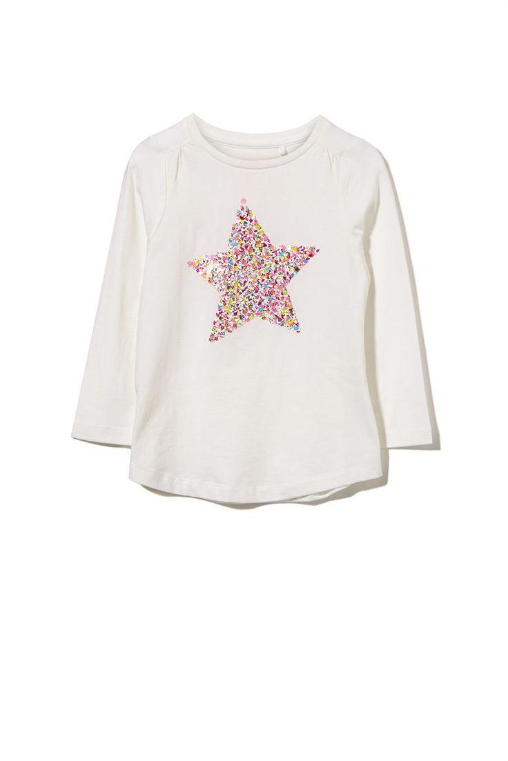 Cotton On Kids, ANNA LS APPLIQUE TEE, VANILLA/REVERSE FLORAL SEQUIN STAR