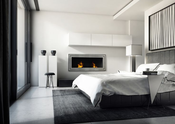 Modern bedroom with biofireplace JULIET 1500