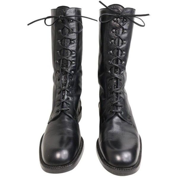 Preowned Vintage 90s Black Leather Military Style Army Combat Lace Up... ($280) ❤ liked on Polyvore featuring shoes, boots, ankle booties, 1990s, black, vintage, combat boots, black laced booties, leather booties and black lace up ankle booties