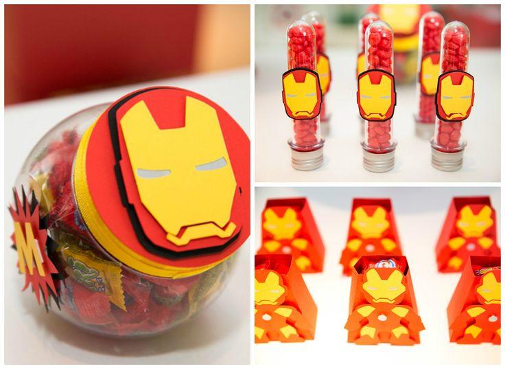 Baleiro, tubetes e caixas decoradas para Homem de Ferro em Os Vingadores - Miguel 03 anos