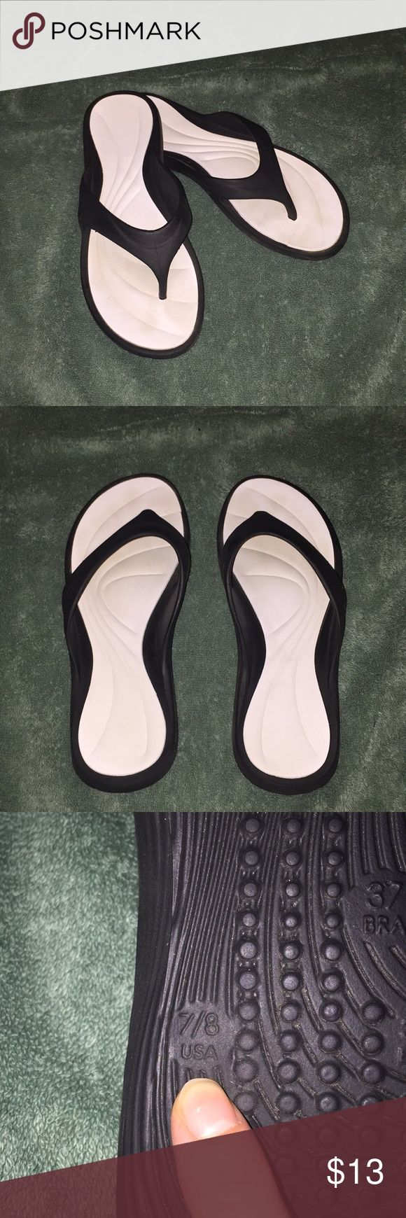 Black and white flip flops Worn maybe once Made in Brazil grendene Shoes Sandals