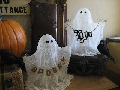DIY starched cheesecloth ghost - tutorial from One Lucky Day