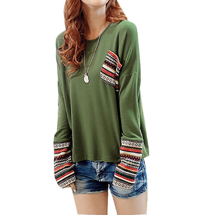 Minetome Women Plaid Checked Long Sleeve Round Neck Loose Shirt Blouse Tops ( Green ): Amazon.co.uk: Clothing
