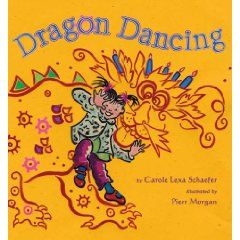 "Dragon Dancing: An imaginative romp with nice pictures and theme but the cutesy actions like ""  creep crouching"" and ""mish mooshing""  on every page got on my nerves."
