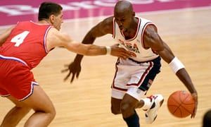 Michael Jordan in action in the 1992 Olympic basketball final in which the US beat Croatia 117-85