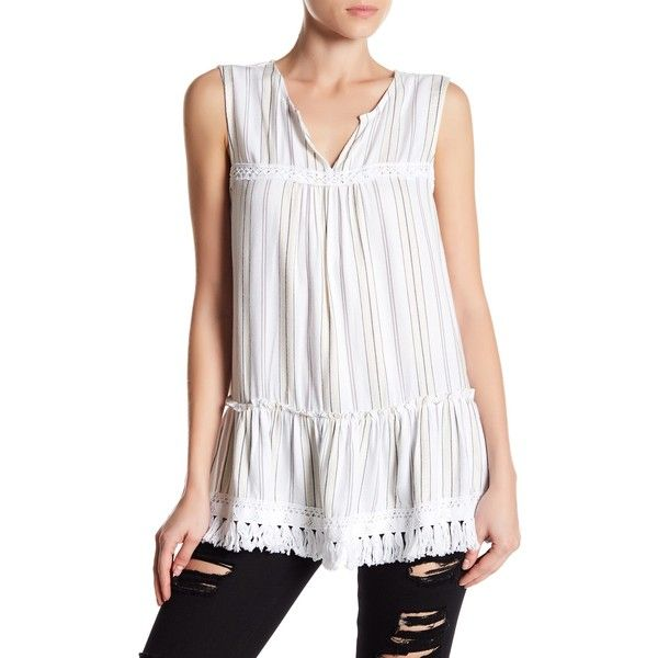 Pleione Stripe Babydoll Tank ($33) ❤ liked on Polyvore featuring tops, white ivry stripe, fringe tank top, white fringe tank top, white sleeveless top, white singlet and baby doll tank tops