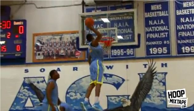 This is a picture of a young up and comer in the dunking world, Andrew Wiggins. He is a Canadian basketball prospect ranked number 1 on ESPN recruiting. He is attending Kansas University next year and he has a +40 inch vertical.