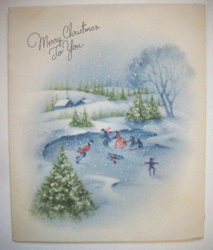 Families Ice skating on pond  Vintage Christmas greeting card B*