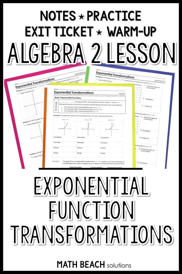 Exponential Function Transformations Lesson Quadratics Algebra Lesson Plans Exponential