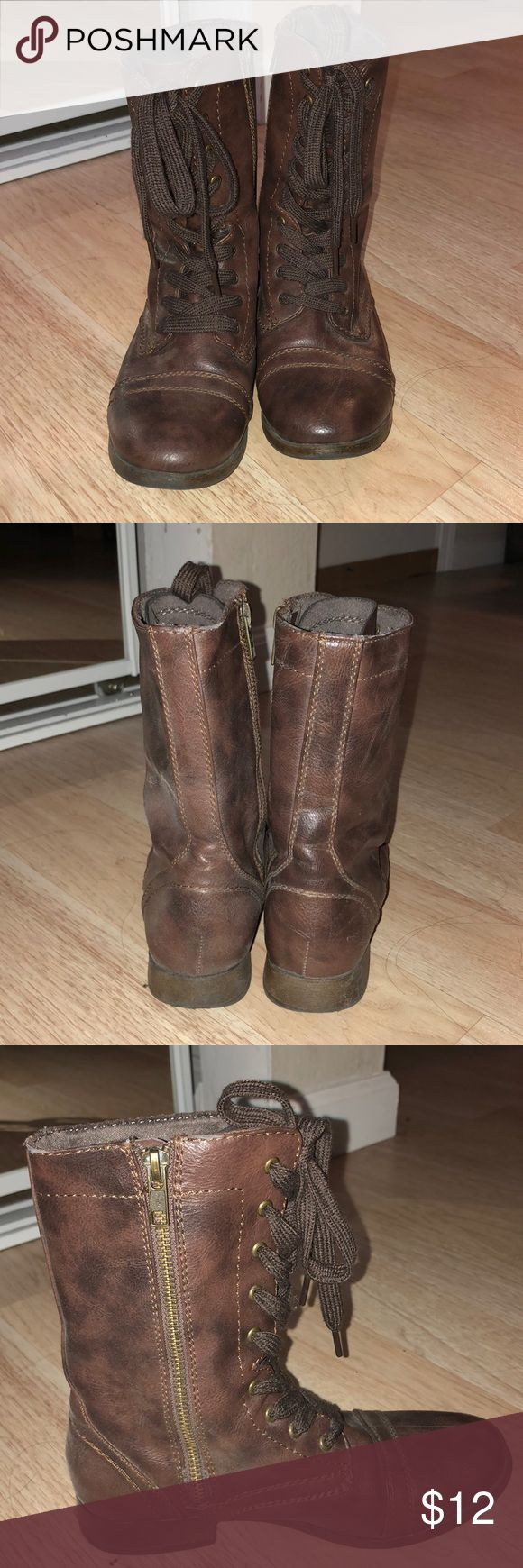 Mossimo Combat Boots Brown zip up combat boots Good Condition Slightly used Shoes Combat & Moto Boots