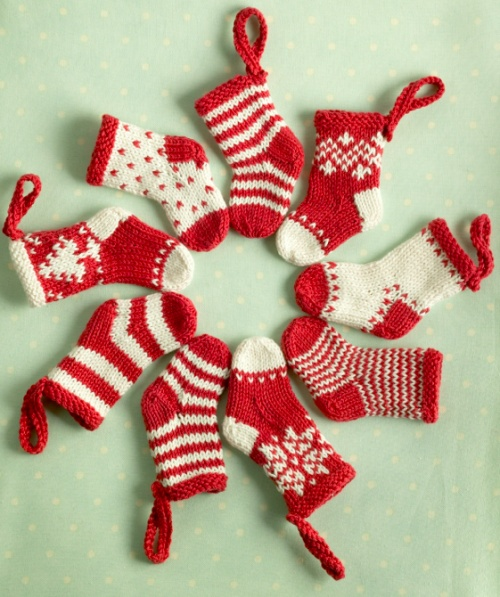 Knitted Mini Christmas Stockings...Cute stocking ideas