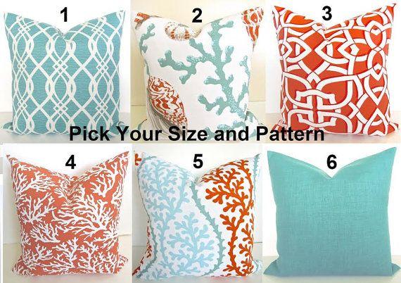 CORAL PILLOWS Coral Outdoor Throw Pillow Covers Orange Coral Aqua Mint Green Indoor Outdoor Decorative pillows 12x18 16x20 Lumbar .All Sizes