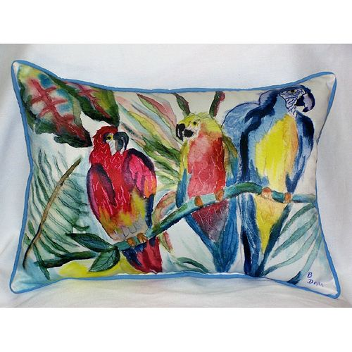 Parrot Family 15x22 Outdoor Pillow Beach Decor Coastal Decor Nautical Decor Tropical