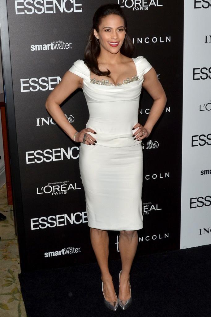 Paula Patton wearing Marchesa//Giuseppe Zanotti in Beverly Hills.