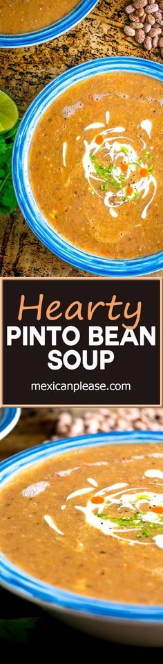 Sopa Tarasca is one of Mexican cuisine's most popular soups -- a hearty pinto bean soup that will keep you coming back for more.  Great flavor with just a hint of spice from a chipotle in adobo.  So good!  mexicanplease.com