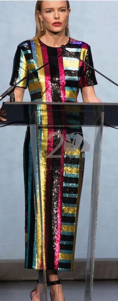 Who made  Kate Bosworth's stripe sequin dress?