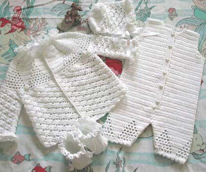 Вязание крючком для детей, кофта, штанишки, шапочка со схемой. Белоснежный праздничный наряд должен быть в запасе у каждой мамы для вашего ангелочка.